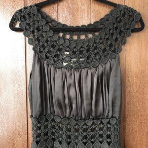 Black Satin & Knit Maxi Dress (XS)